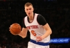 Feb 9, 2016; New York, NY, USA; New York Knicks forward Kristaps Porzingis (6) drives to the paint during the third quarter against the Washington Wizards at Madison Square Garden. Washington Wizards won111-108. Mandatory Credit: Anthony Gruppuso-USA TODAY Sports